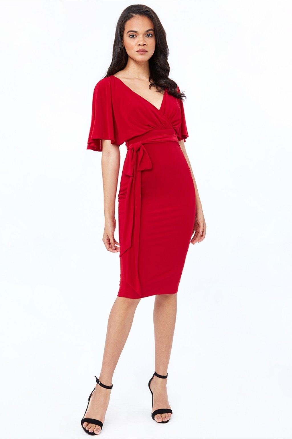 Červené midi šaty s voľnými rukávmi