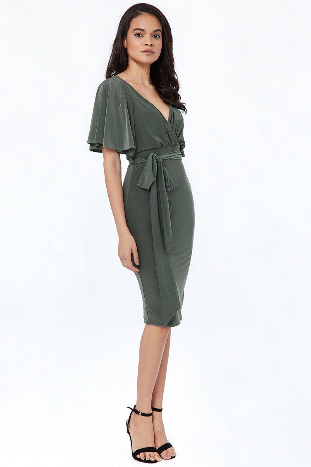 Olivové midi šaty s voľnými rukávmi