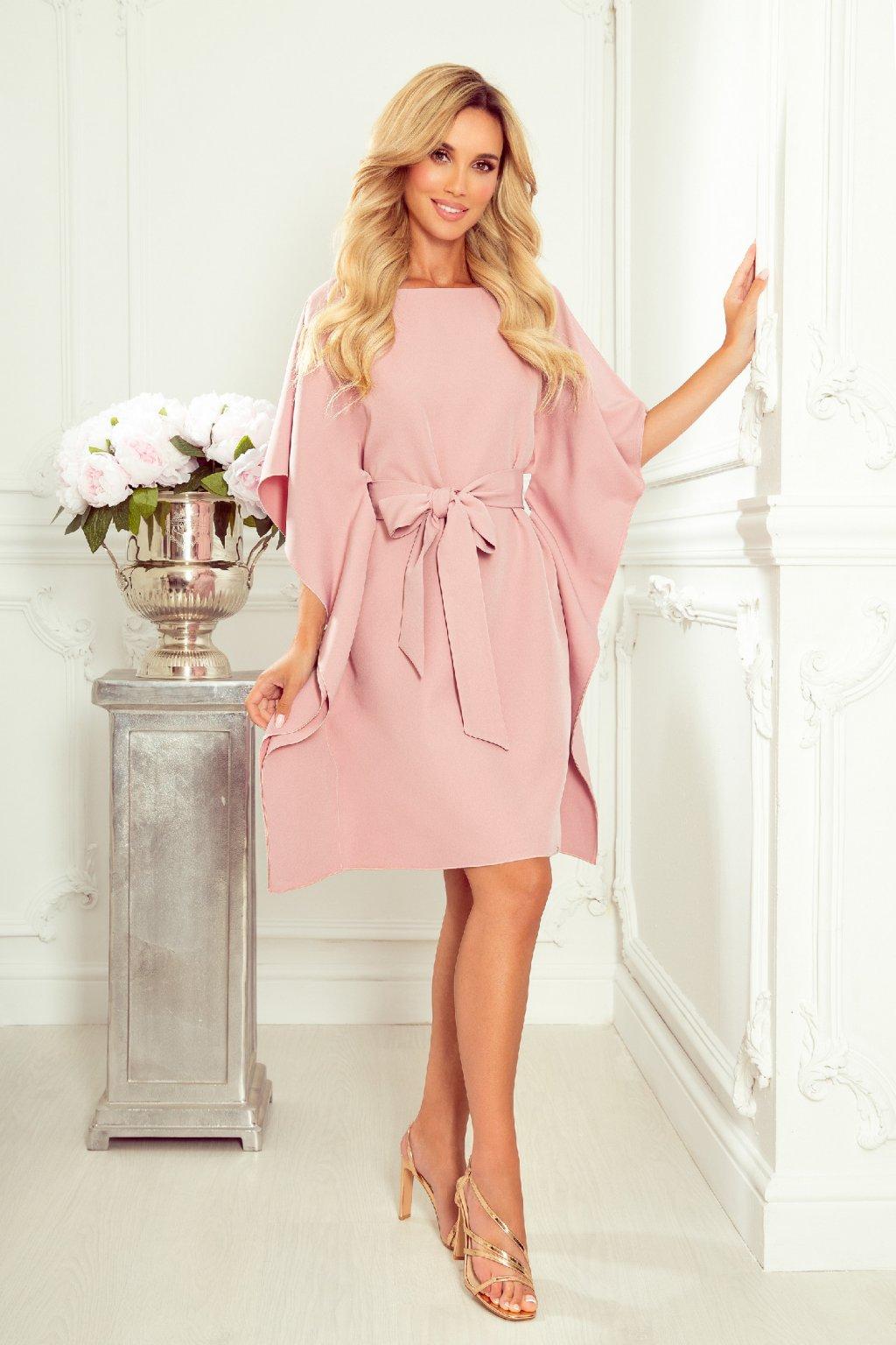 Ružové krátke šaty s voľnými rukávmi