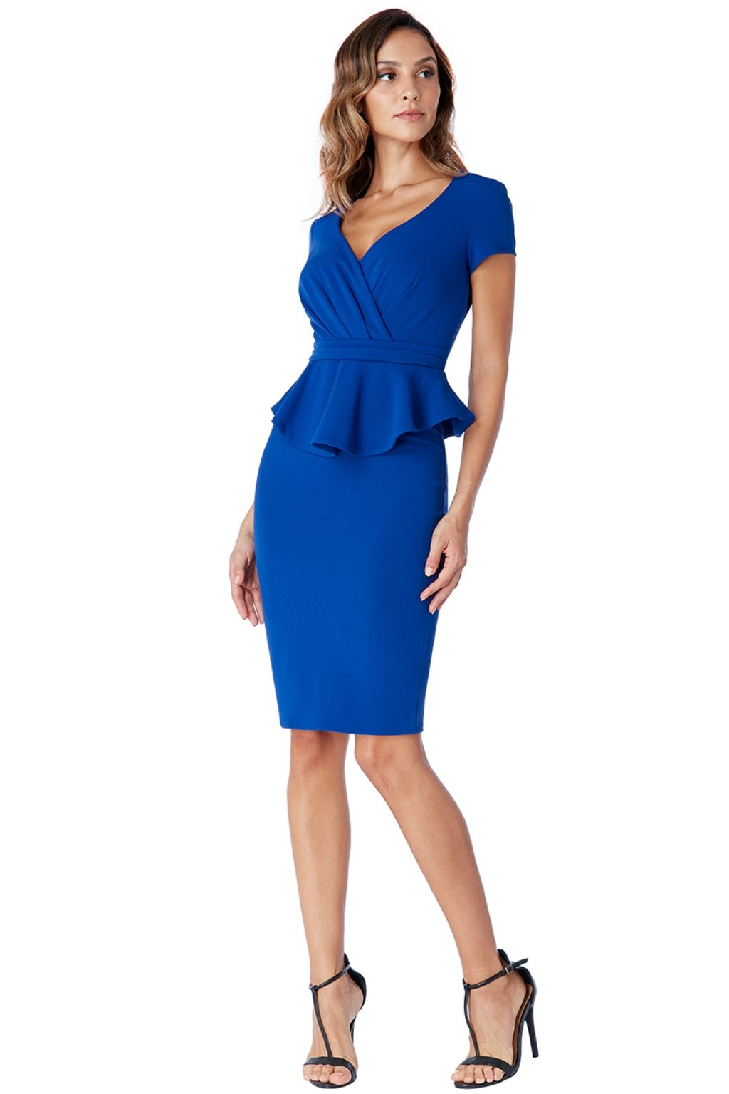 Modré midi šaty s peplum volánikom