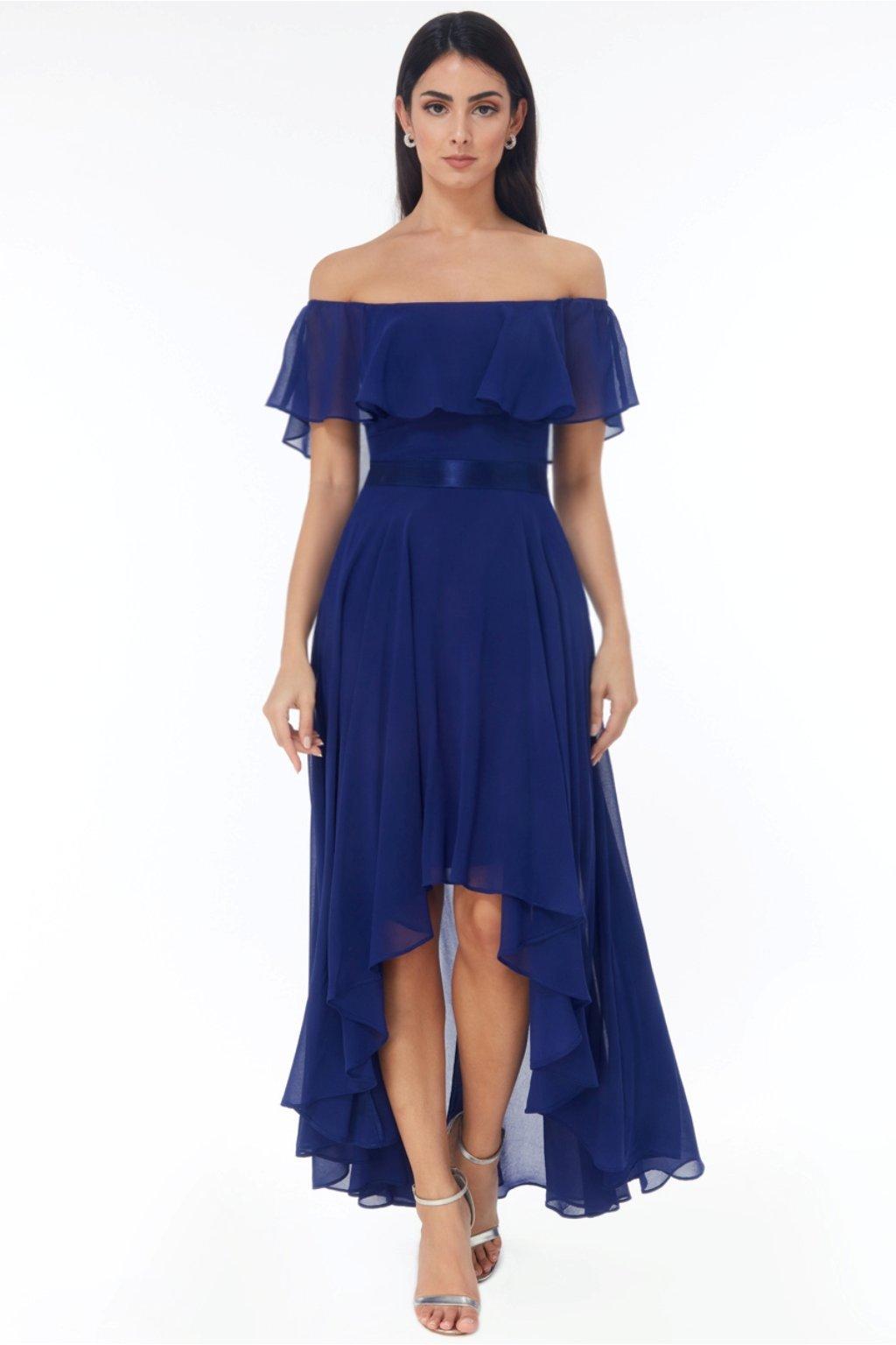 Modré asymetrické šaty spustené na ramená