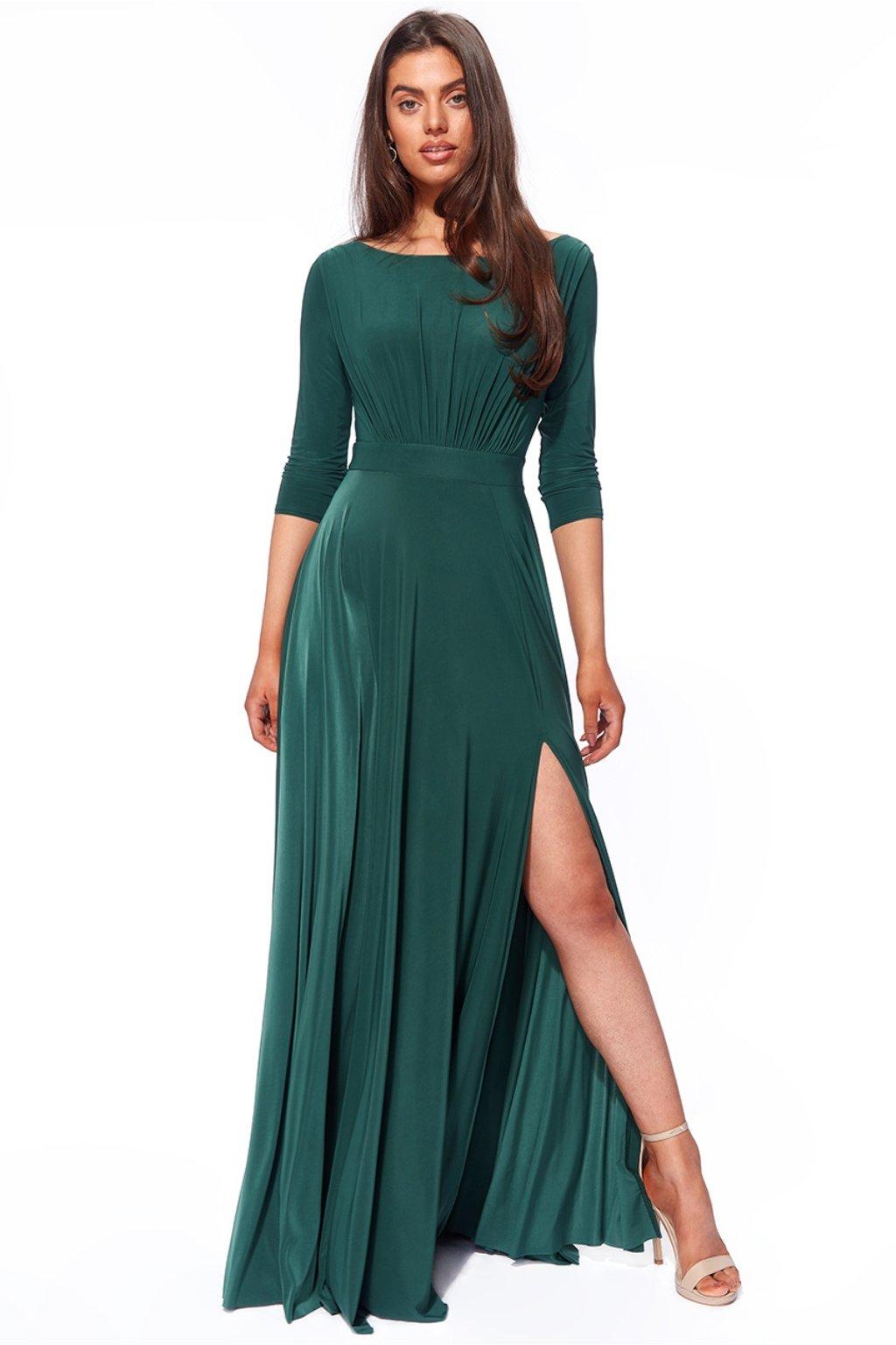 Zelené dlhé šaty s rukávmi