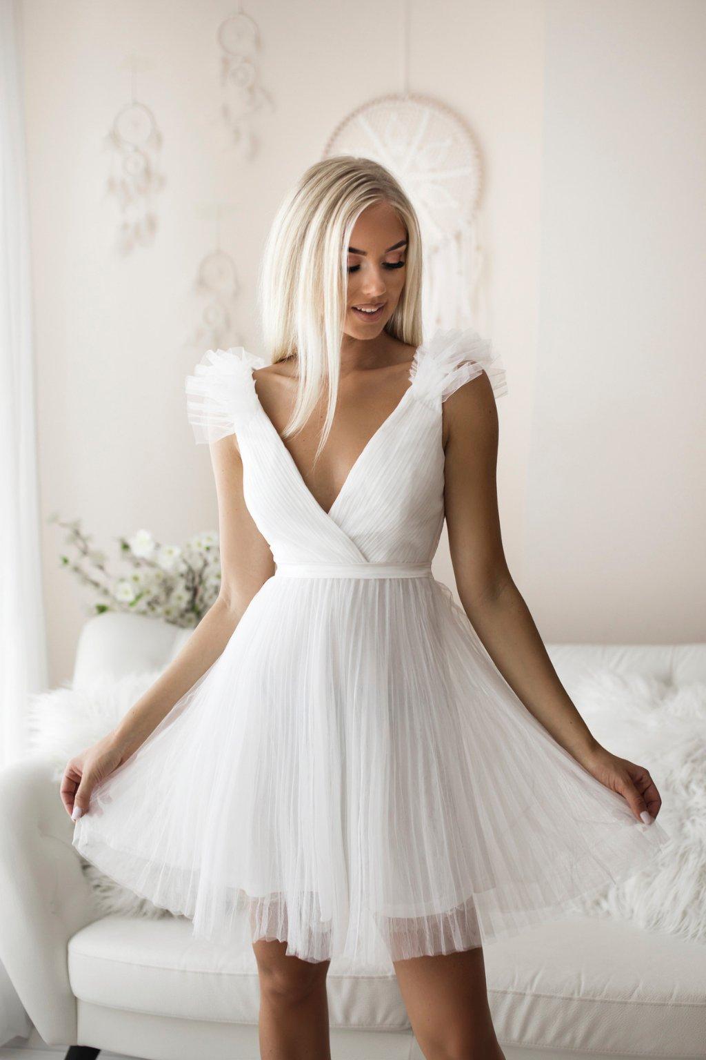 Biele tylové mini šaty