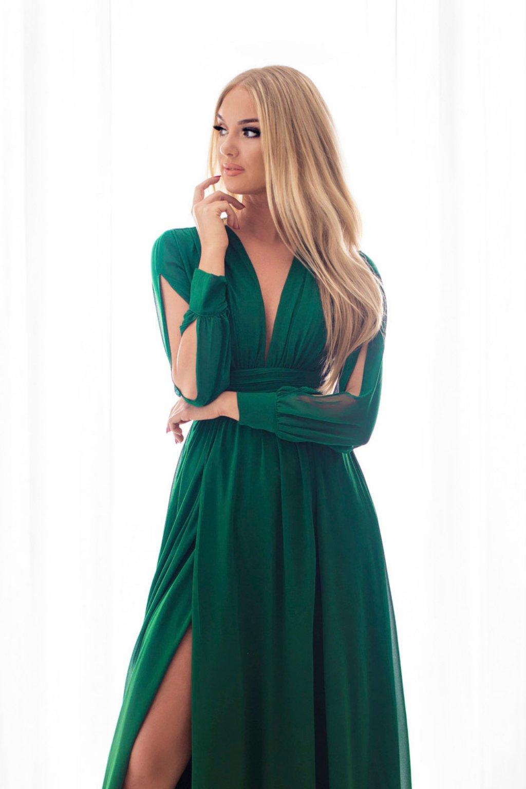 Zelené šifónové šaty s odhaleným chrbtom