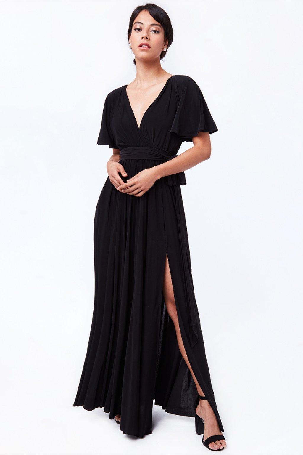 Čierne dlhé spoločenské šaty s voľnými rukávmi