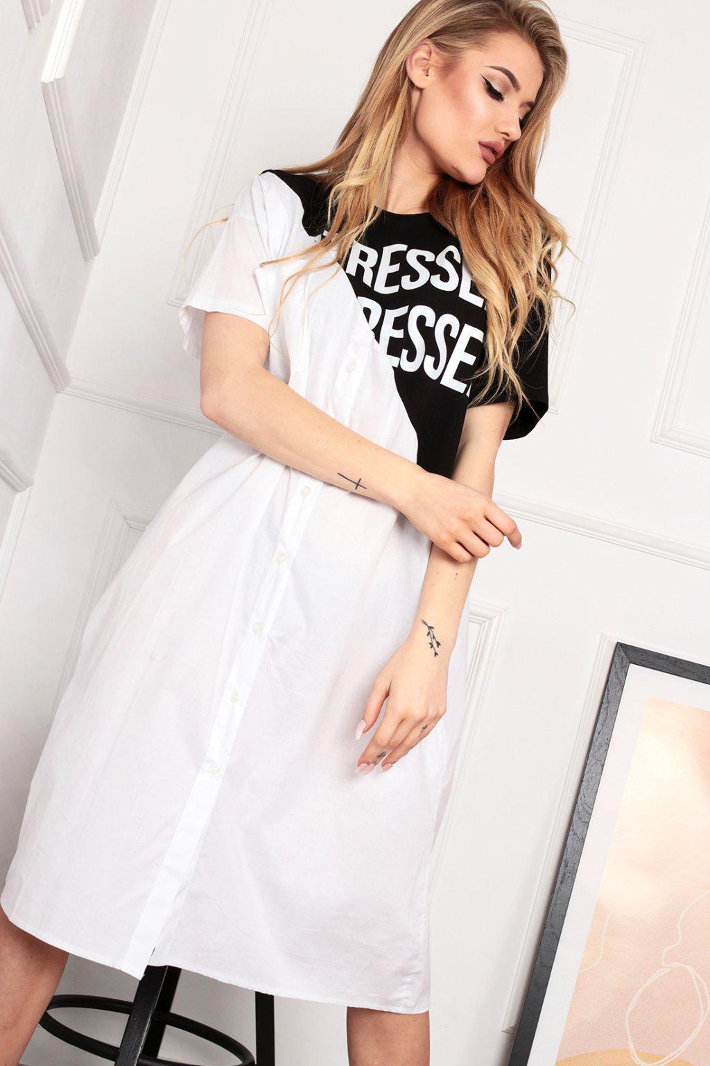Čierno-biele košeľové šaty