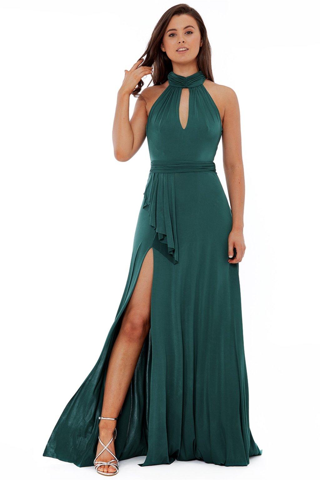 Zelené spoločenské šaty s odhaleným chrbtom
