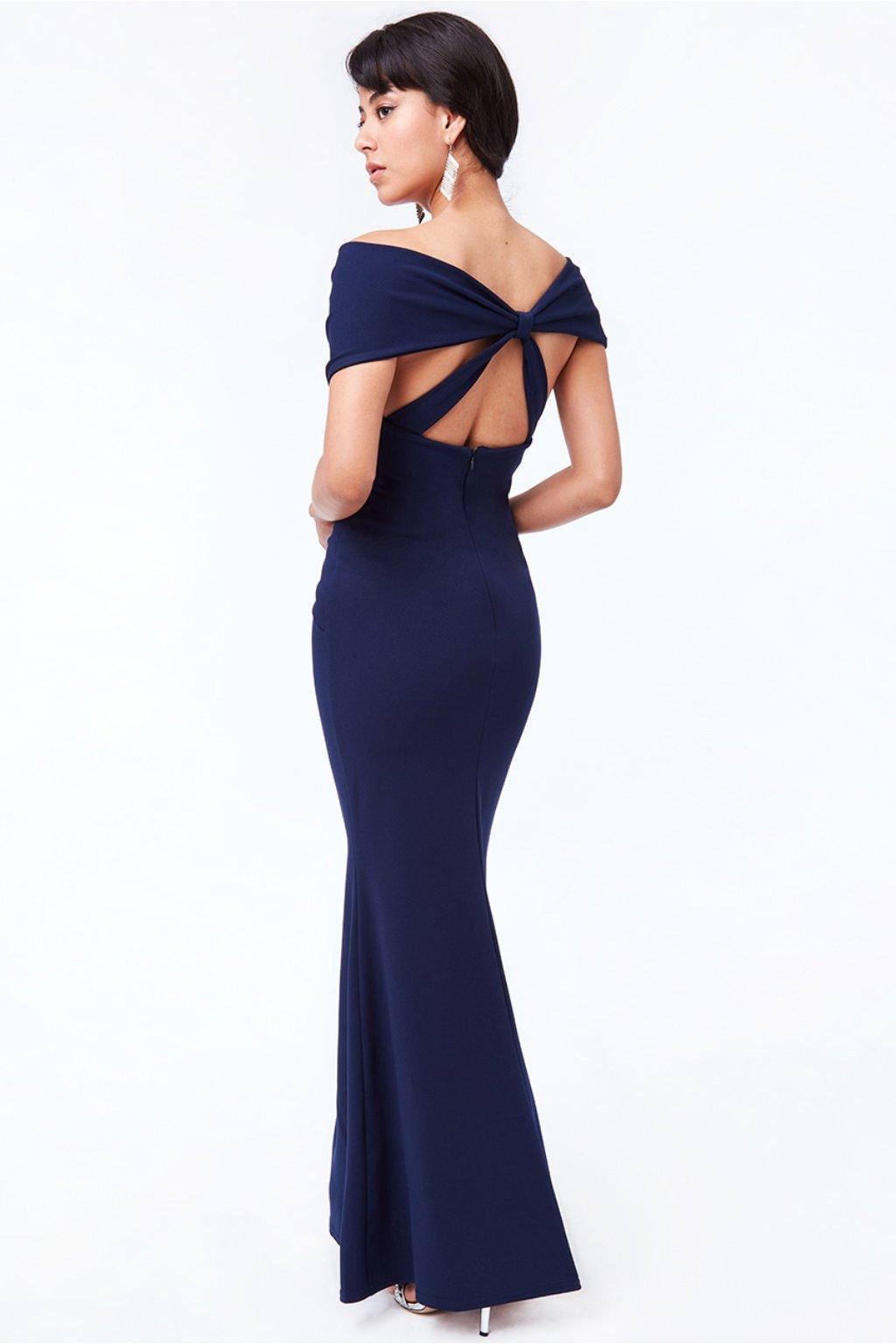 Tmavomodré priliehavé šaty s mašľou na chrbte