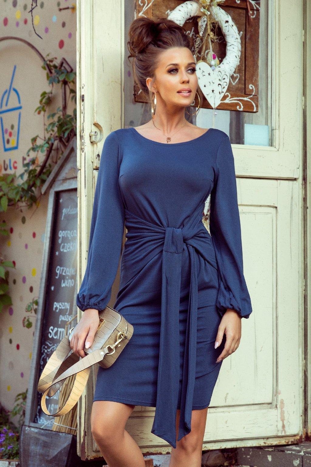 Modré krátke šaty s rukávmi