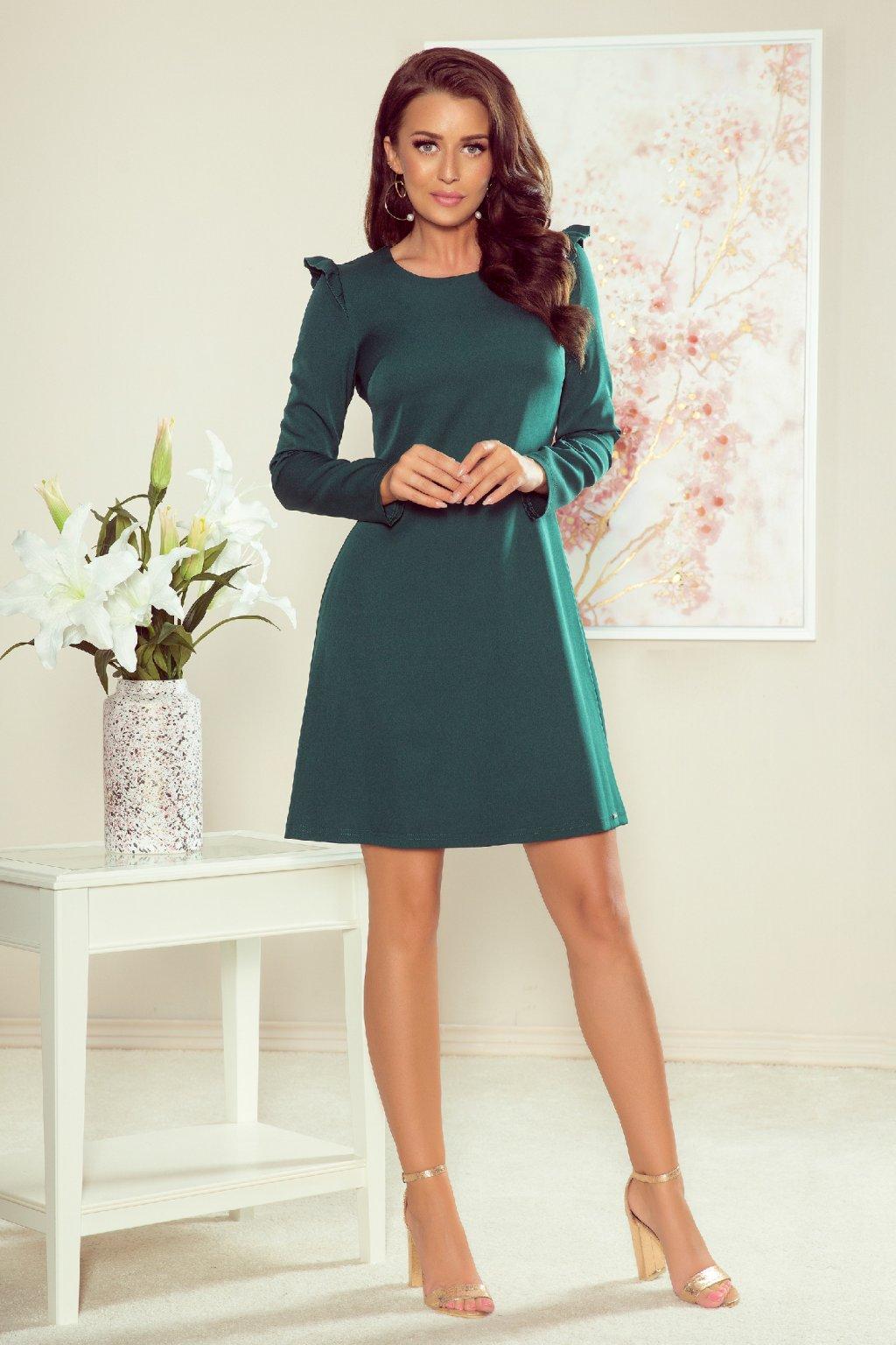 Smaragdové krátke šaty s dlhými rukávmi