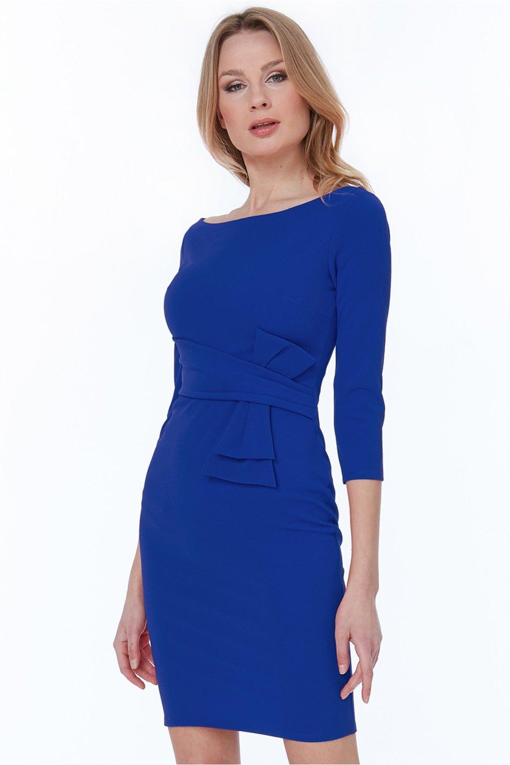 Modré midi šaty s rukávmi