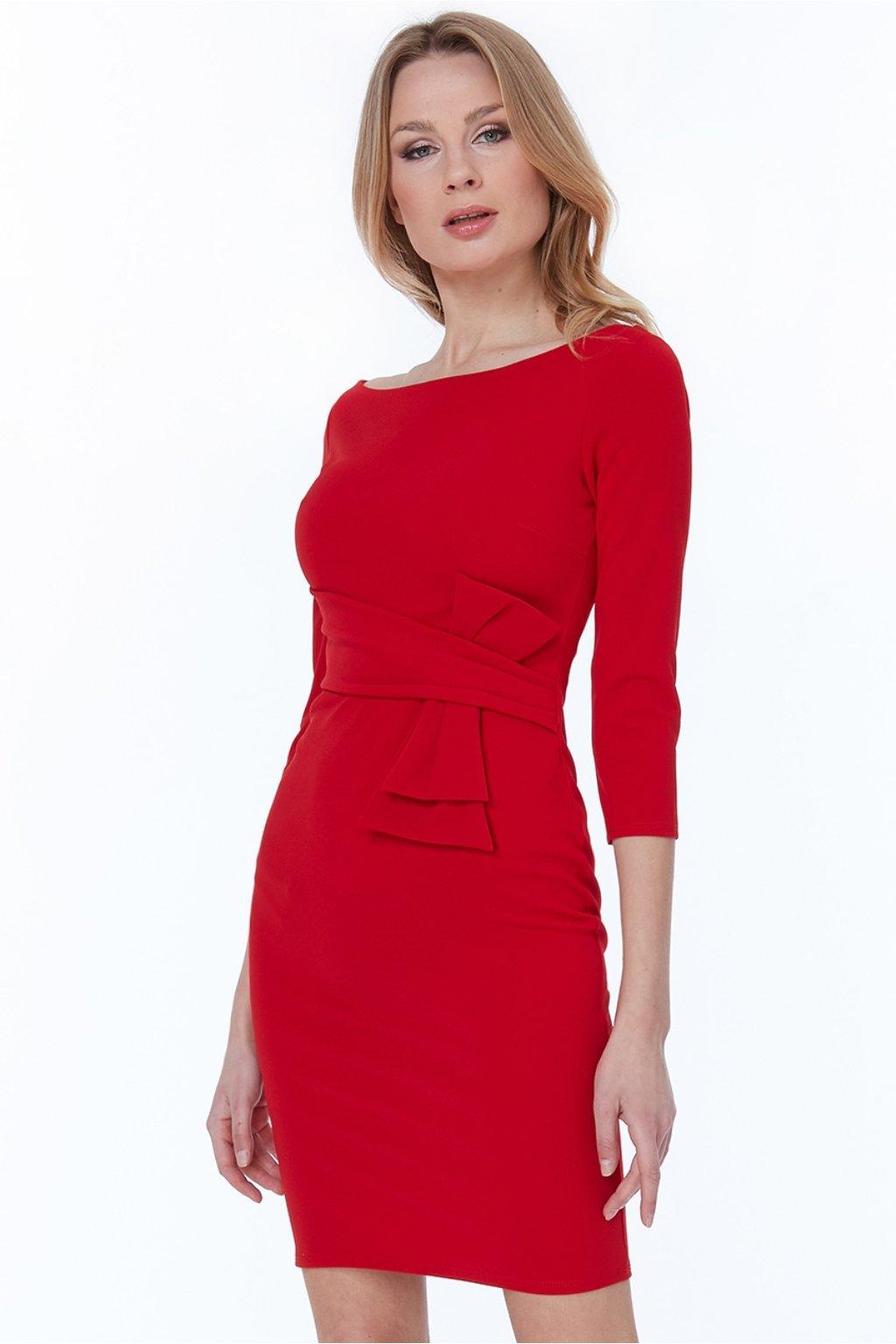 Červené midi šaty s rukávmi