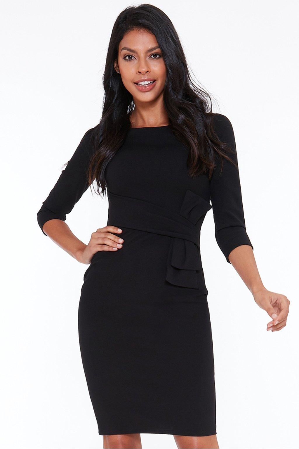 Čierne midi šaty s rukávmi
