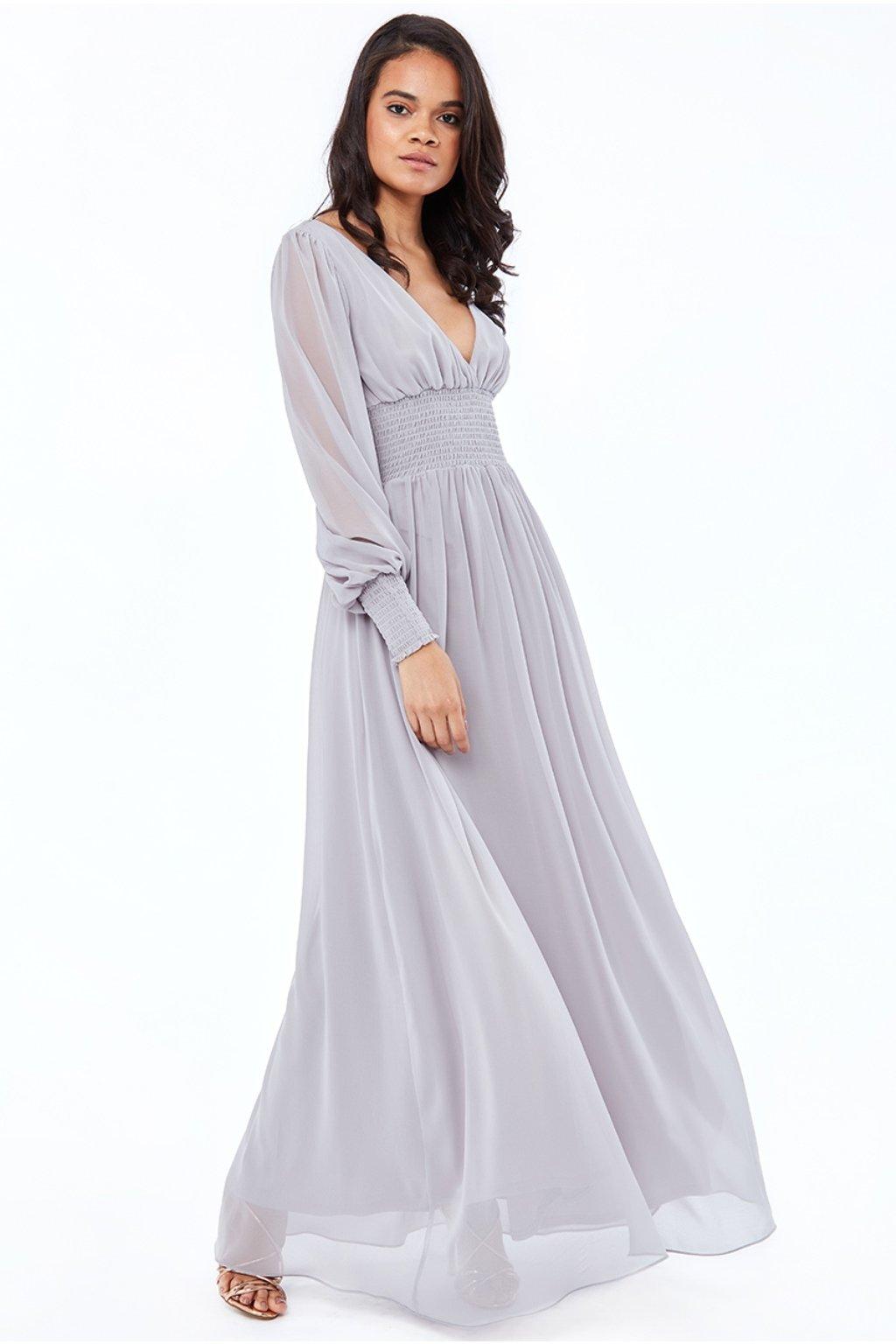 Sivé šifónové šaty s dlhými rukávmi