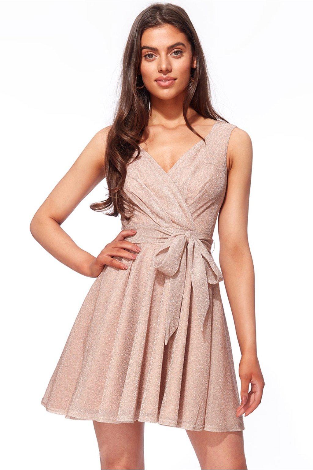 Béžové trblietavé mini šaty