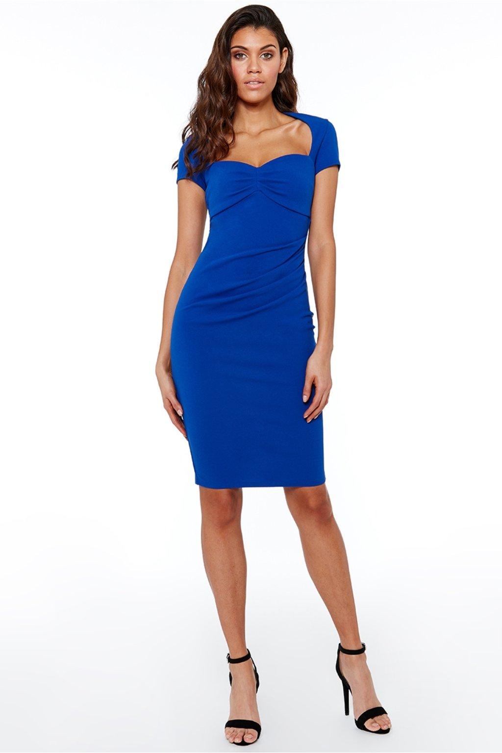 Modré midi šaty s vykrojeným výstrihom