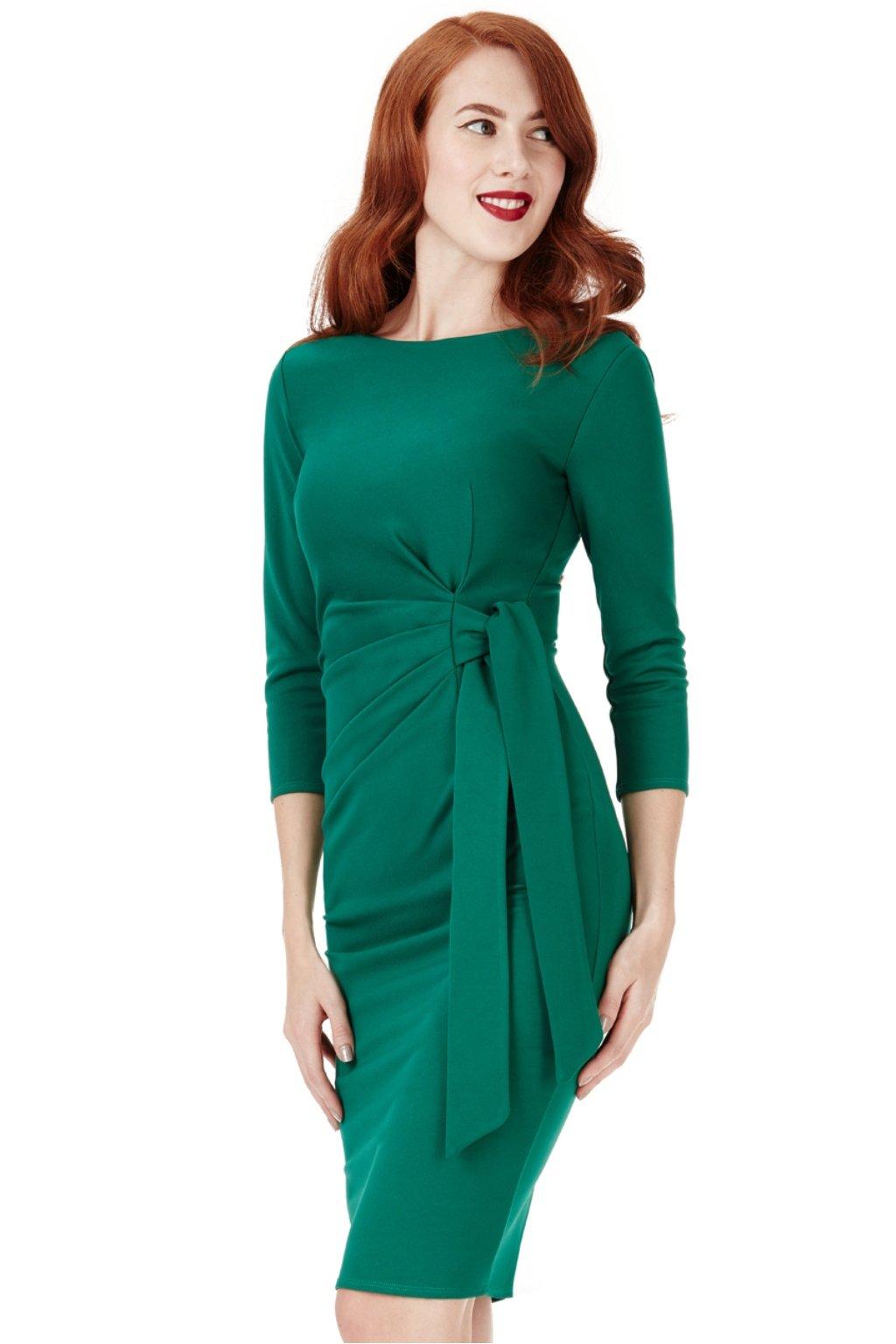 Smaragdové midi šaty s mašľou