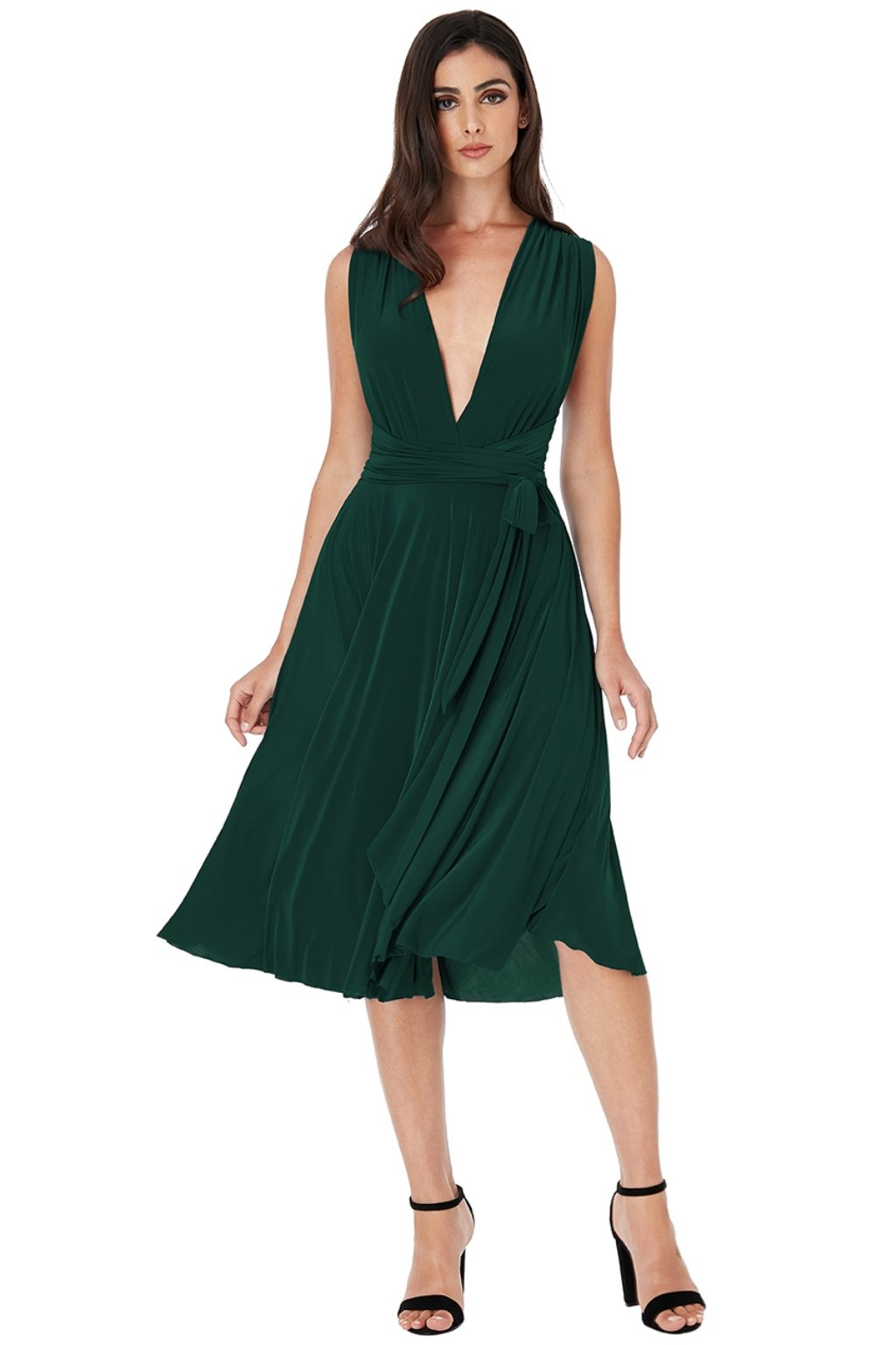 Zelené midi šaty na viazanie