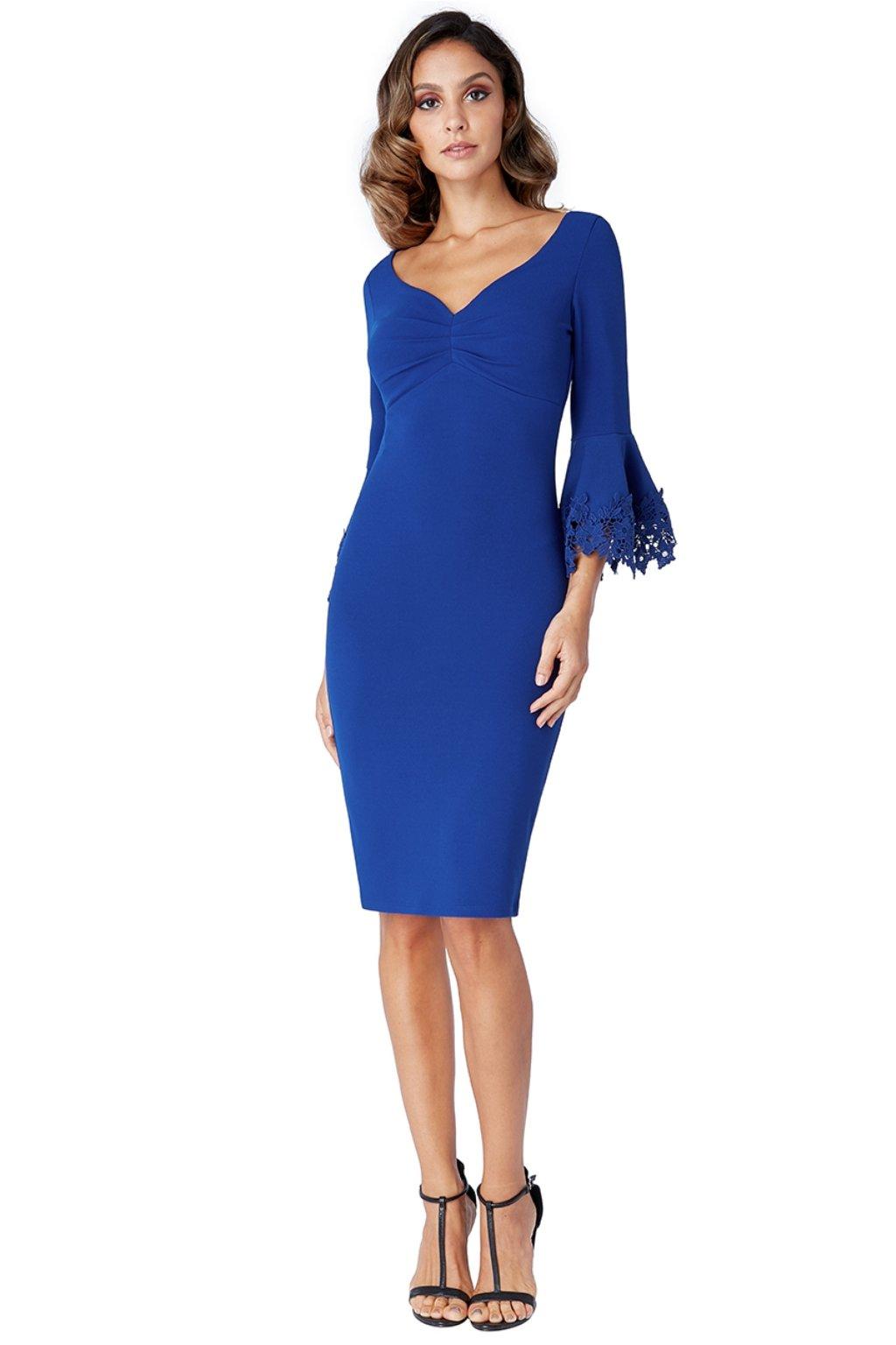 Modré midi šaty s krajkovanými rukávmi