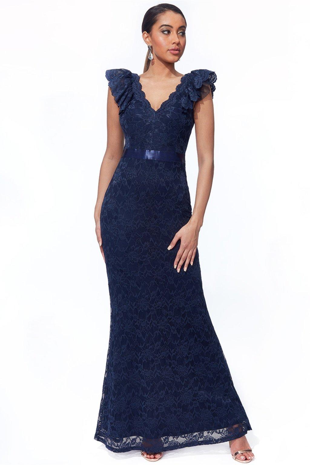 Tmavomodré čipkované priliehavé šaty