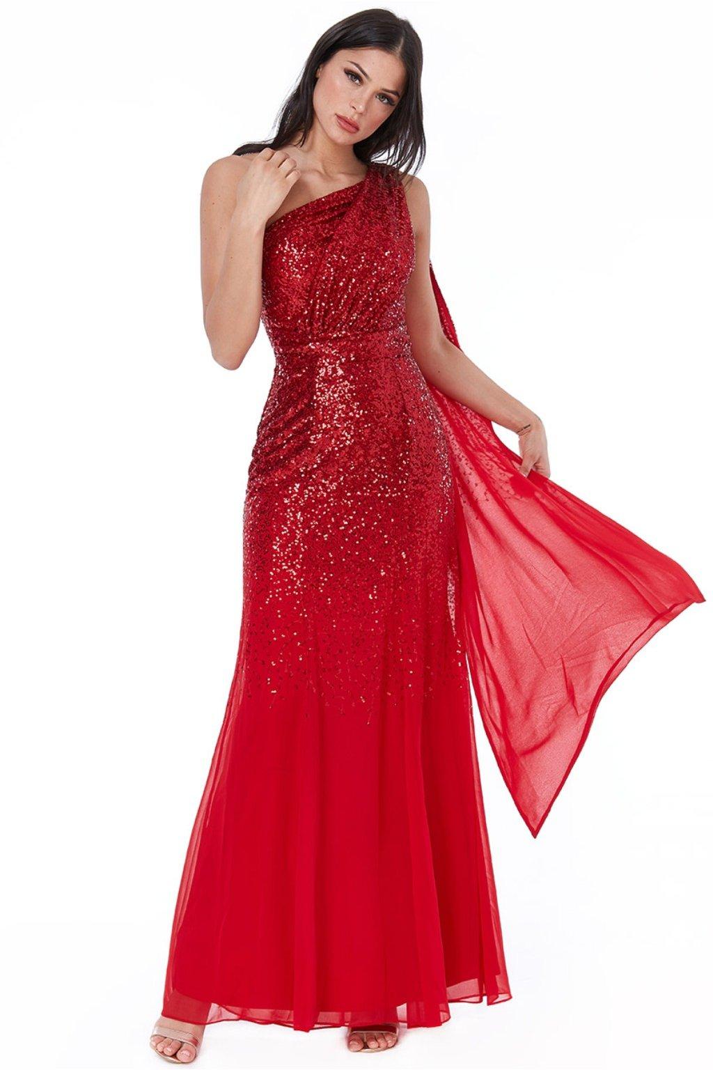 Červené spoločenské šaty s flitrami