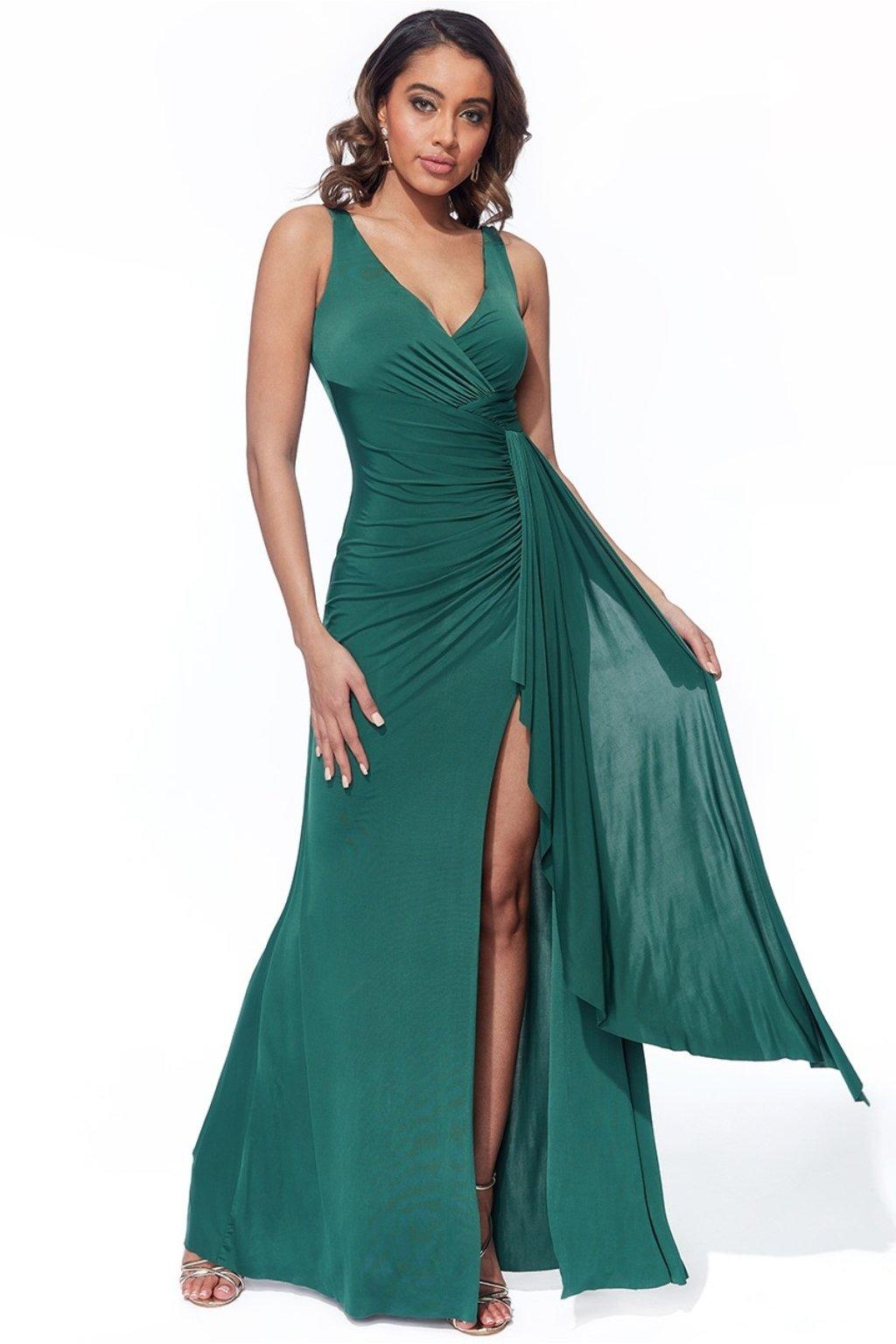 Zelené priliehavé šaty s riasením a rozparkom