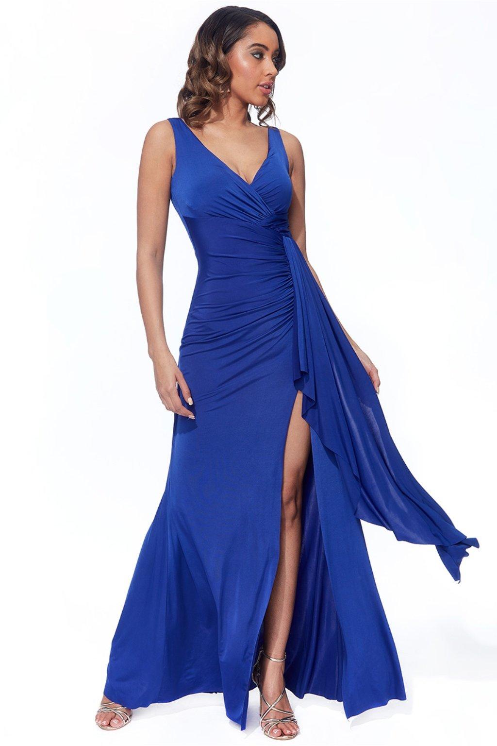 Modré priliehavé šaty s riasením a rozparkom