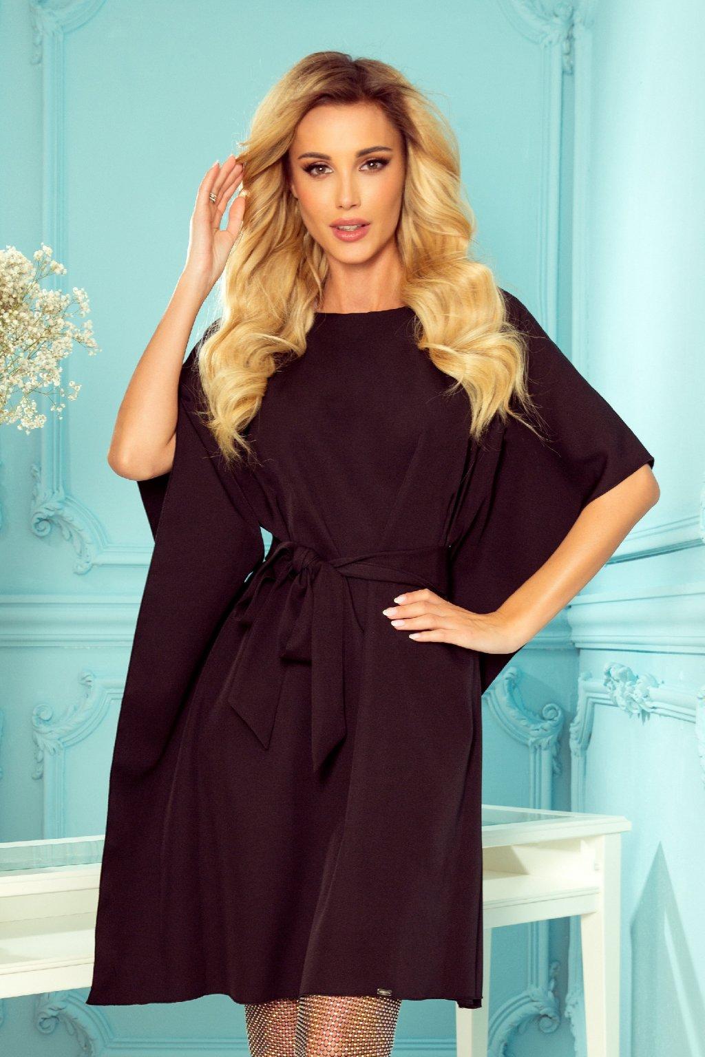 Čierne krátke šaty s voľnými rukávmi