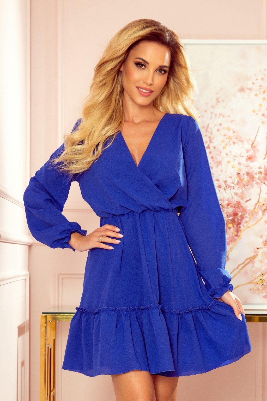 Modré krátke šaty s volánikovou sukňou