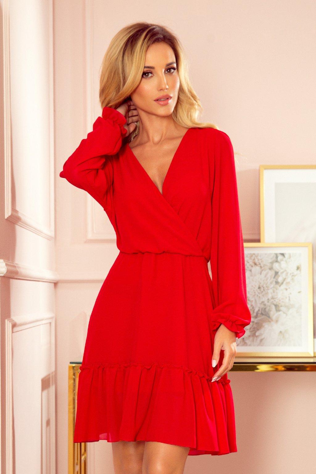 Červené krátke šaty s volánikovou sukňou
