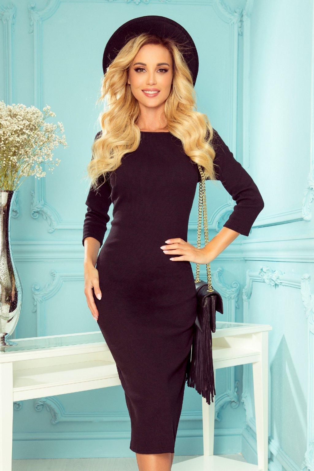 Čierne priliehavé midi šaty s rukávmi