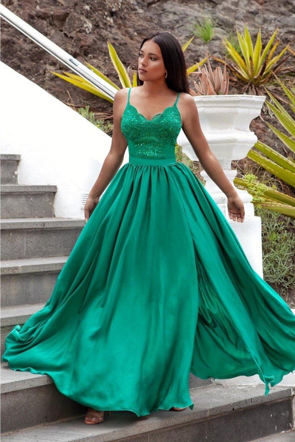Zelené spoločenské šaty s flitrami a saténovou sukňou