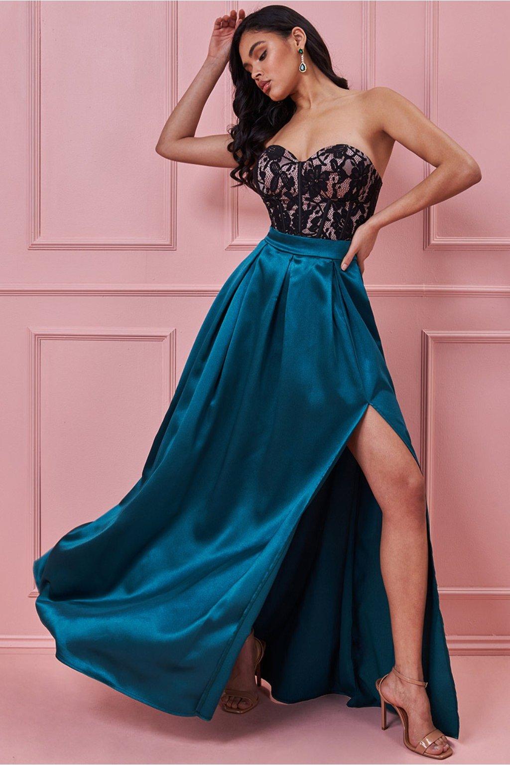 Smaragdové spoločenské šaty s korzetom