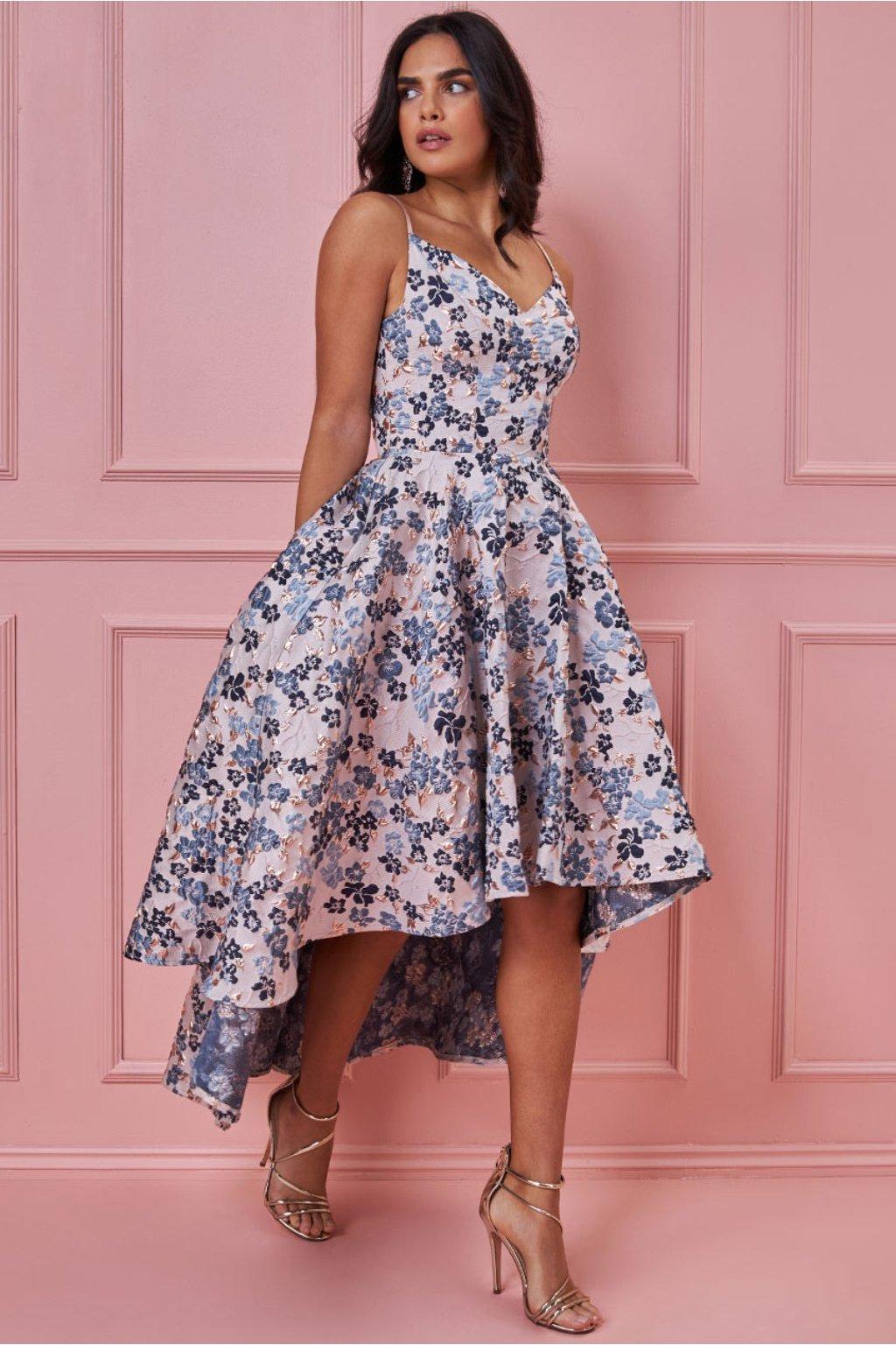 Kvetinové spoločenské asymetrické šaty