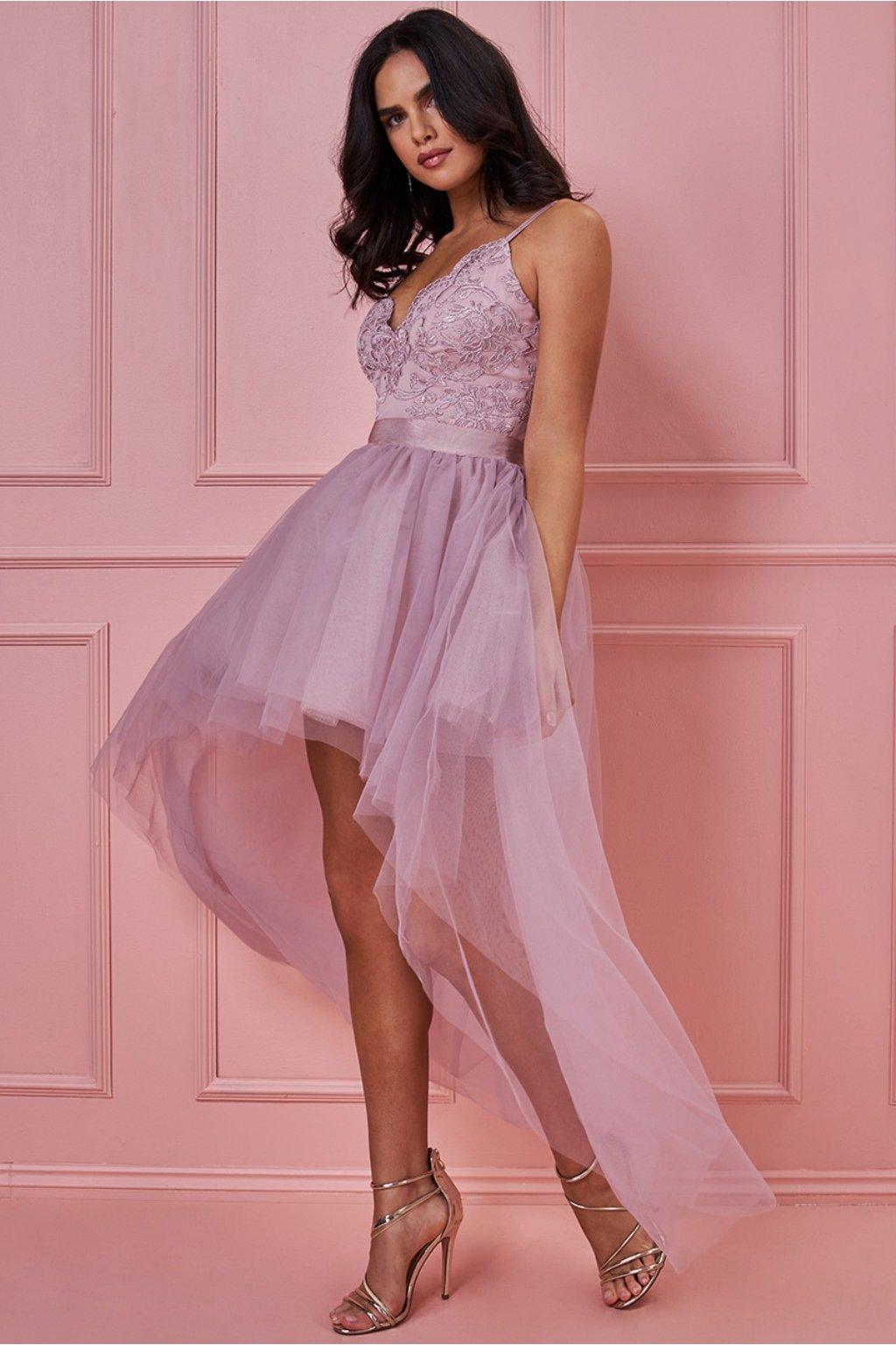 Ružové spoločenské šaty s asymetrickou tylovou sukňou