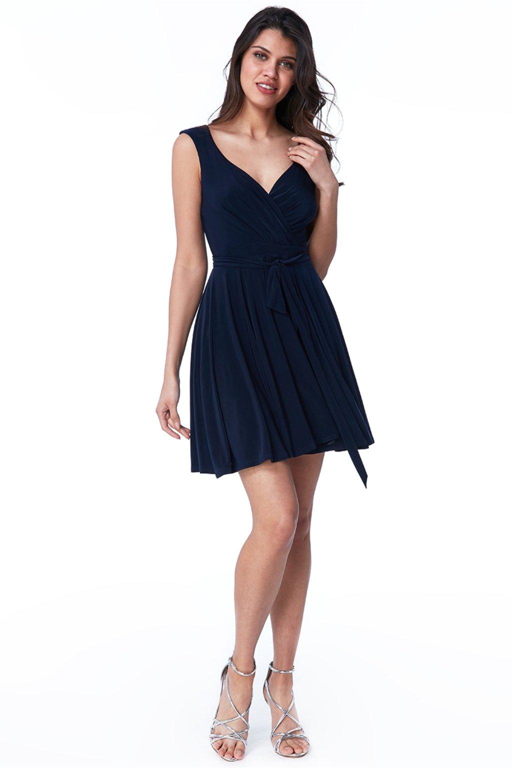Tmavomodré krátke šaty s áčkovou sukňou