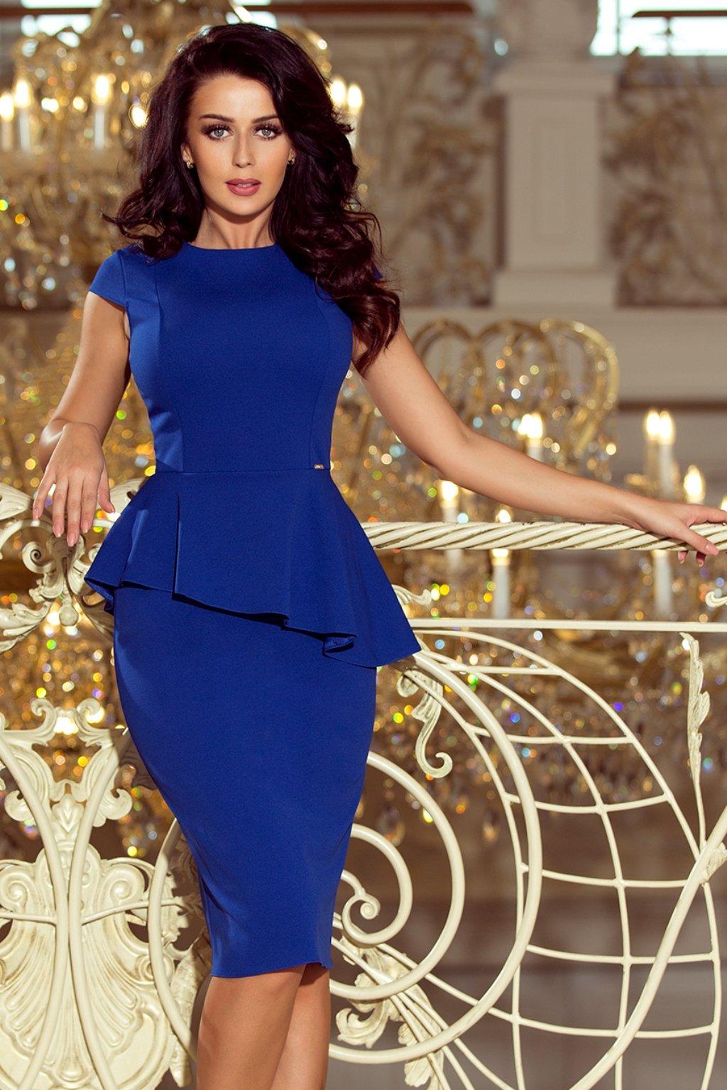 Modré midi šaty s peplum volánom