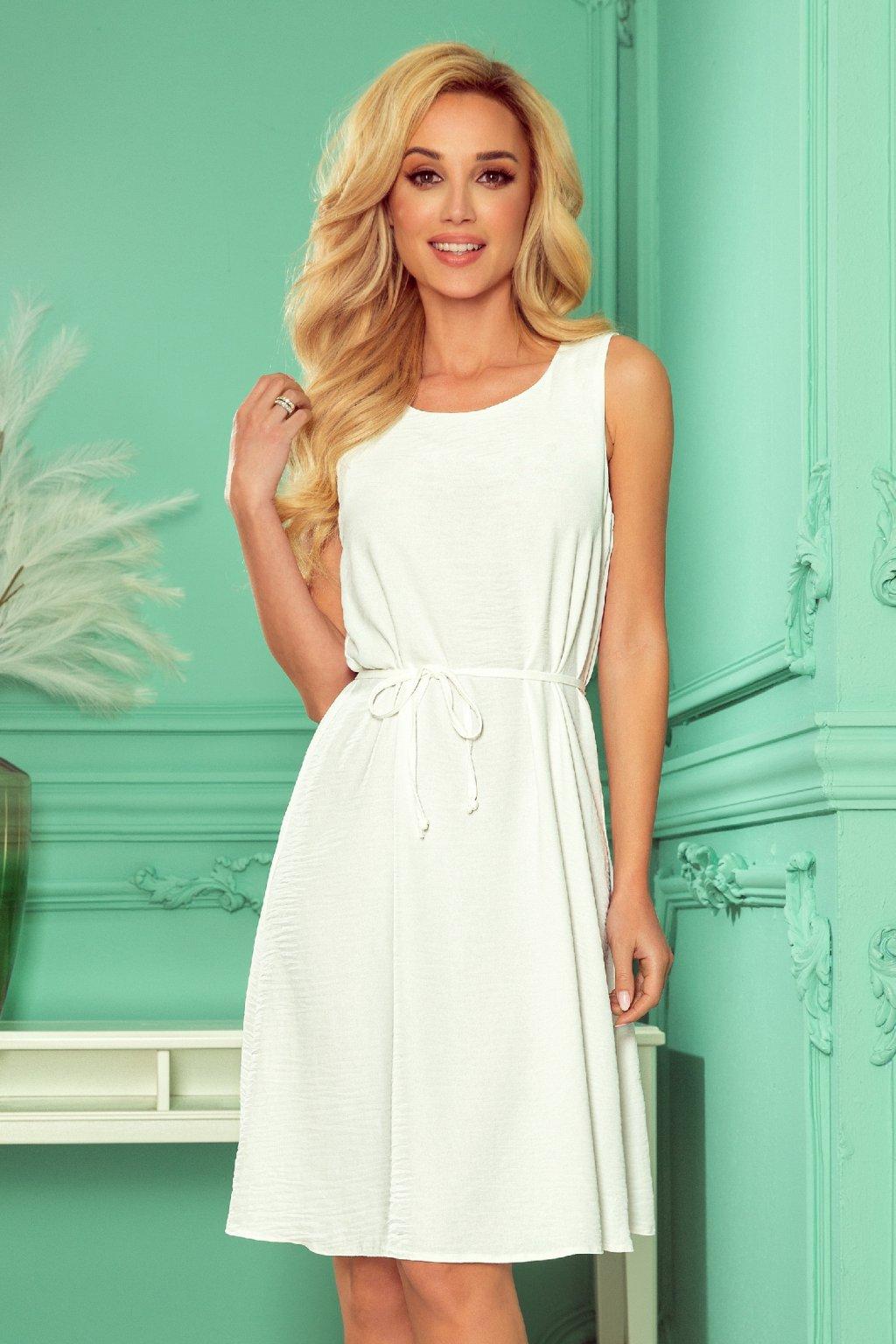 Biele krátke voľné šaty