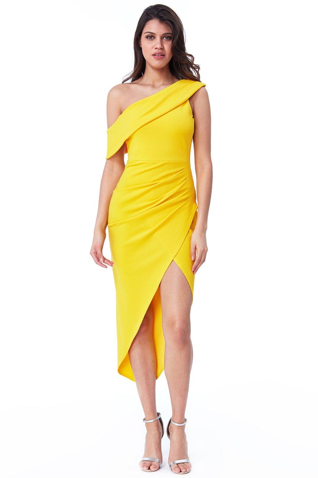 Žlté priliehavé asymetrické šaty