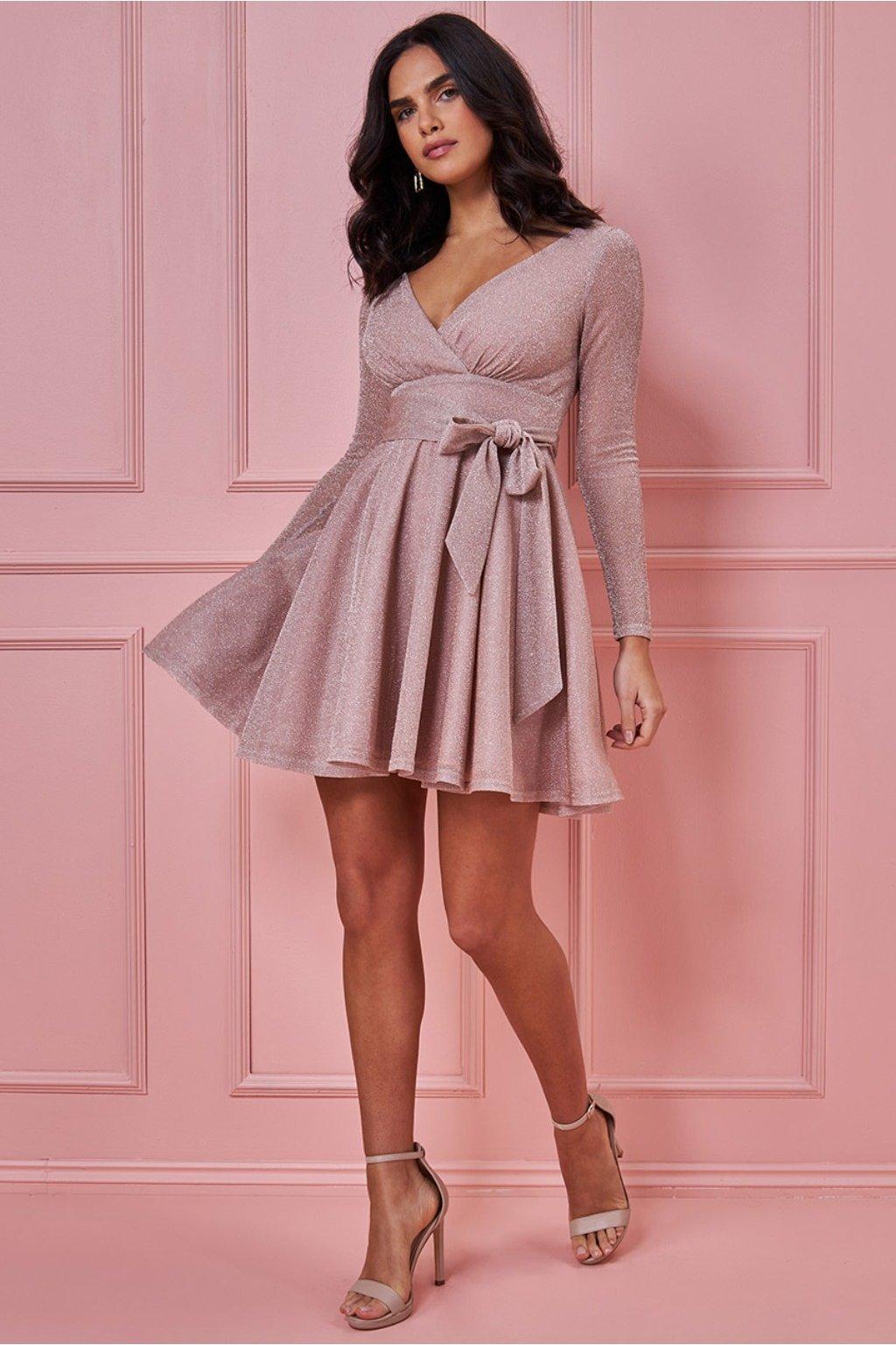 Béžové trblietavé mini šaty s rukávmi