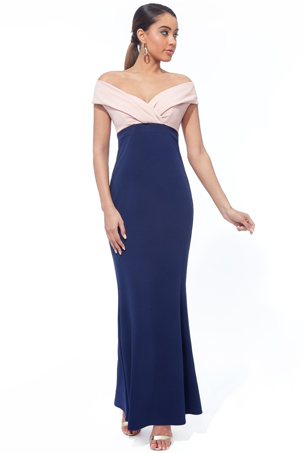 Ružovo-modré spoločenské priliehavé šaty