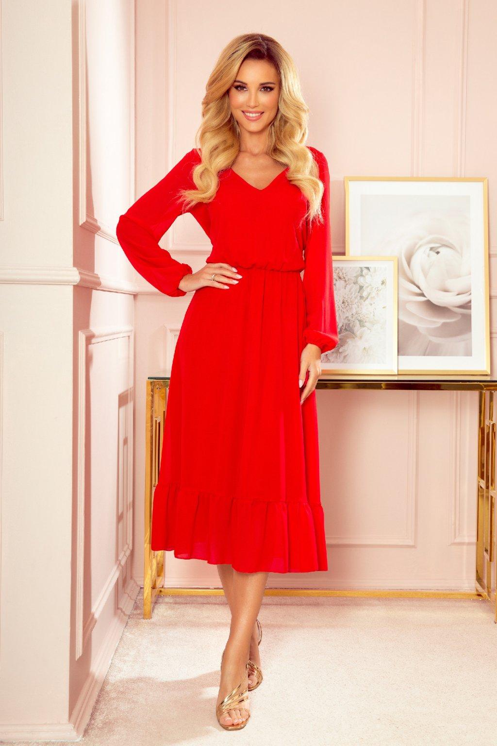 Červené šifónové midi šaty