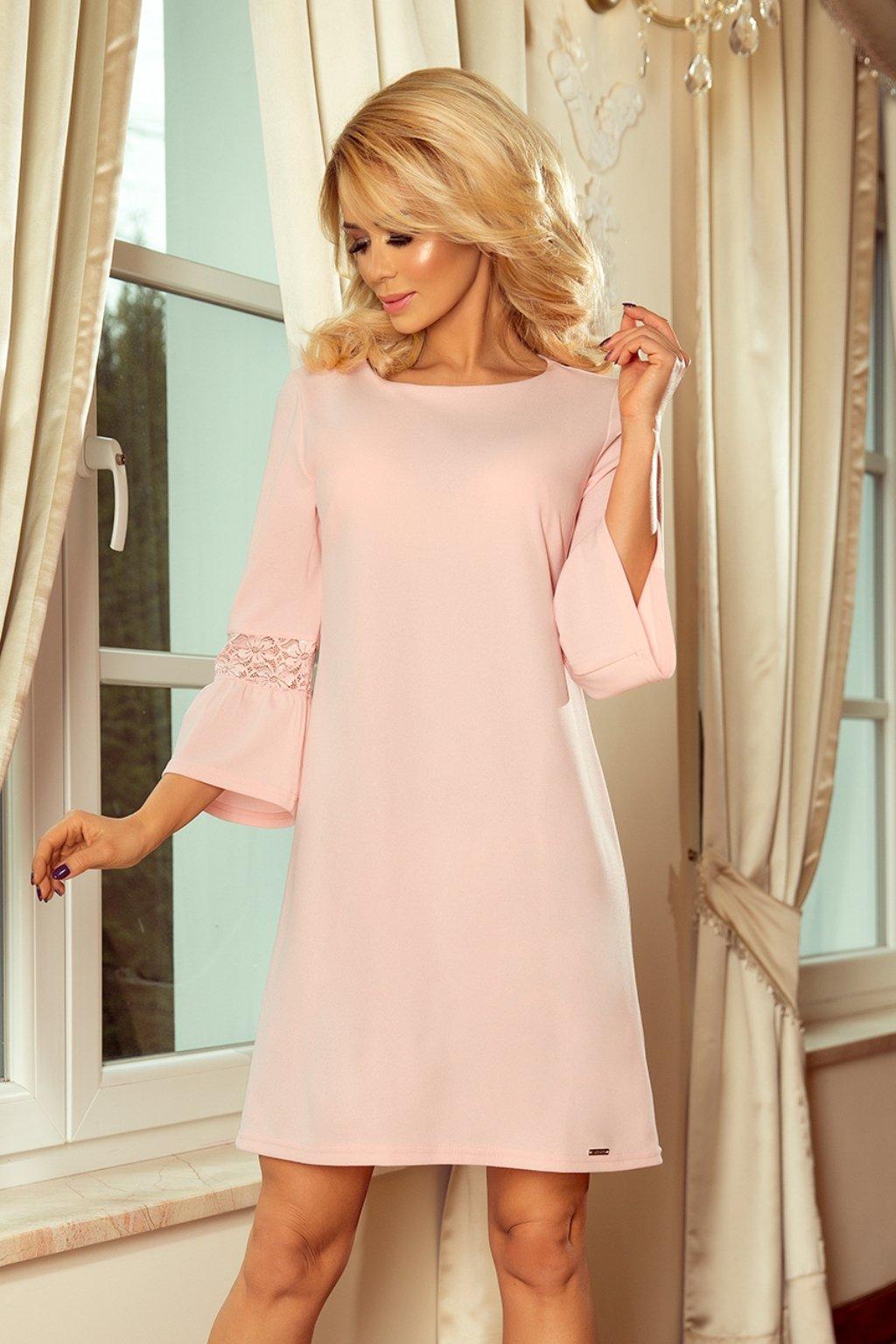 Ružové krátke šaty s jemnou krajkou