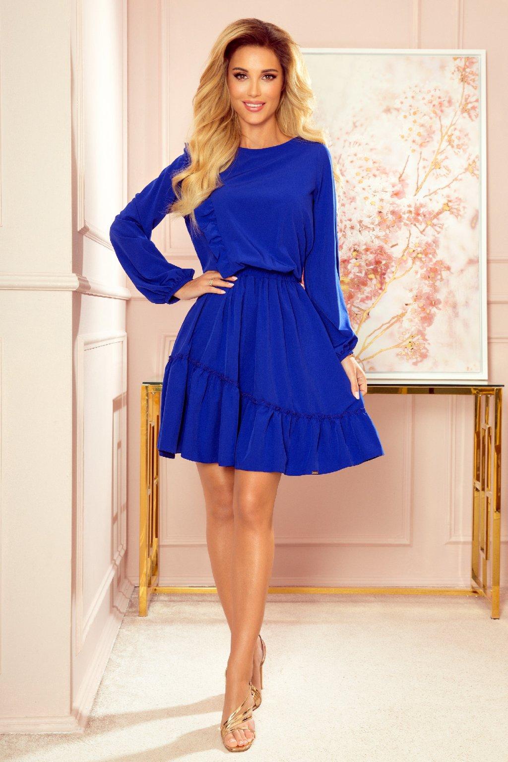 Modré krátke šaty s volánovou sukňou