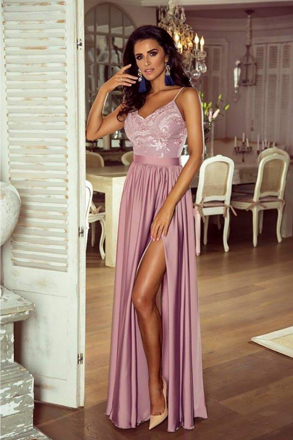 Tmavoružové spoločenské šaty s flitrami a saténovou sukňou