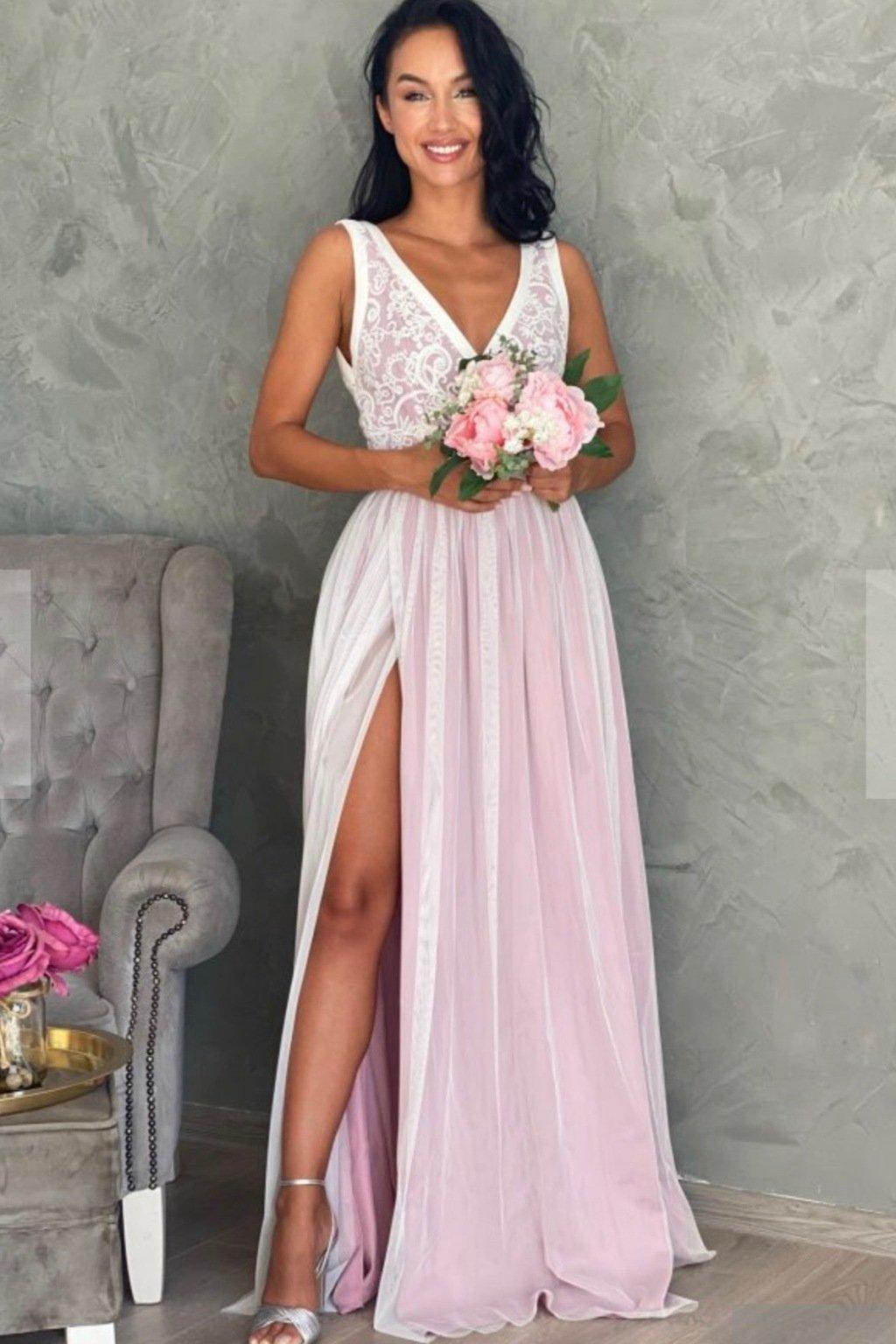 Bielo-ružové spoločenské šaty s krajkou
