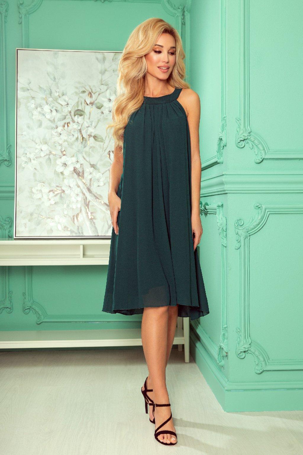 Tmavozelené krátke šifónové šaty