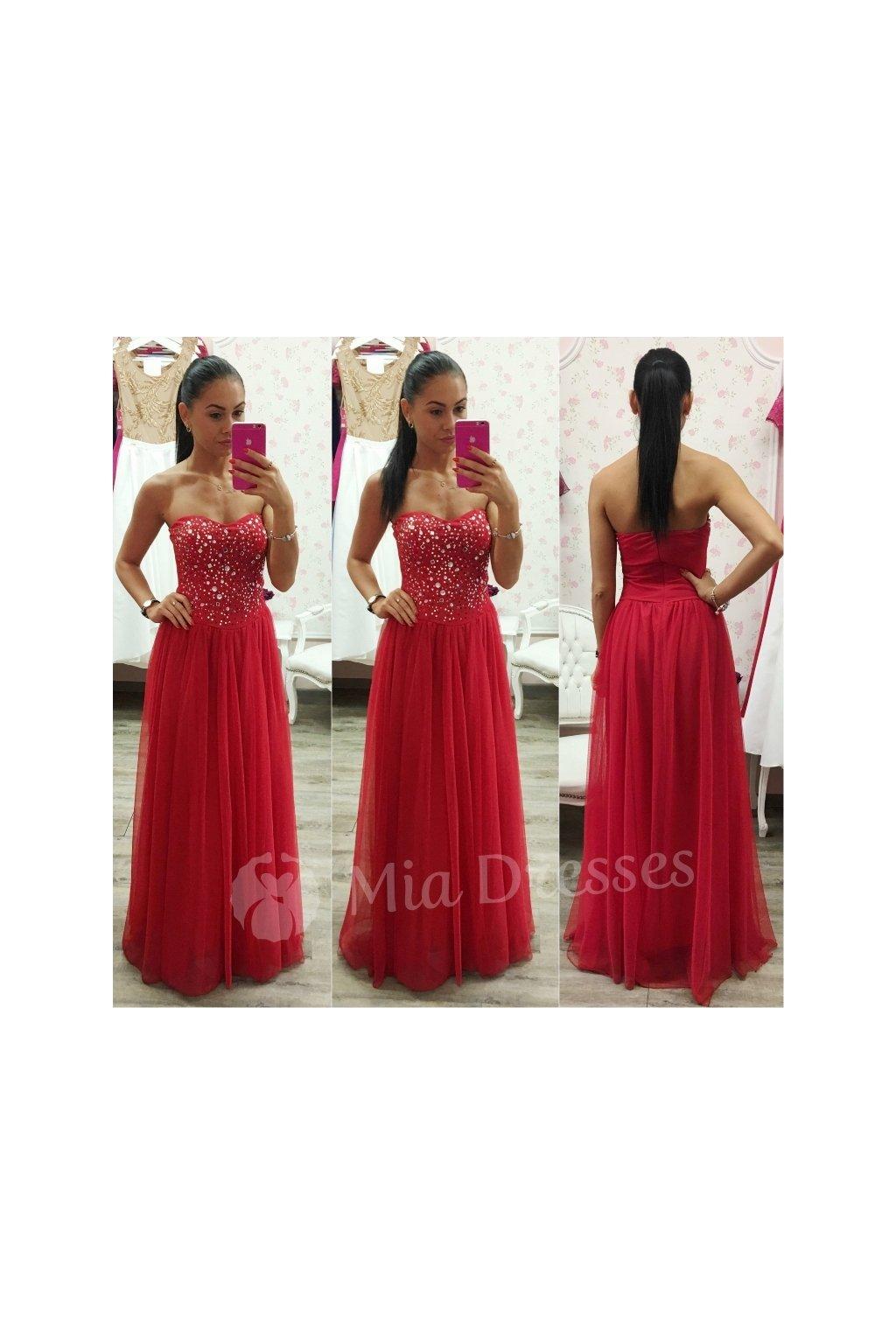 7c3a802d0b73 Červené spoločenské šaty s kamienkami - Mia Dresses