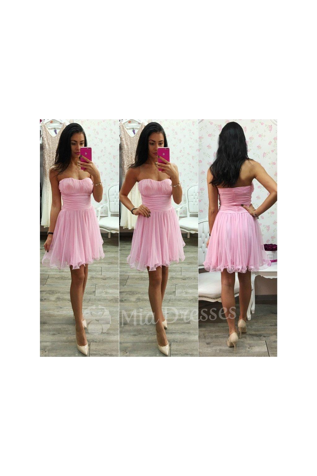 Ružové spoločenské šaty