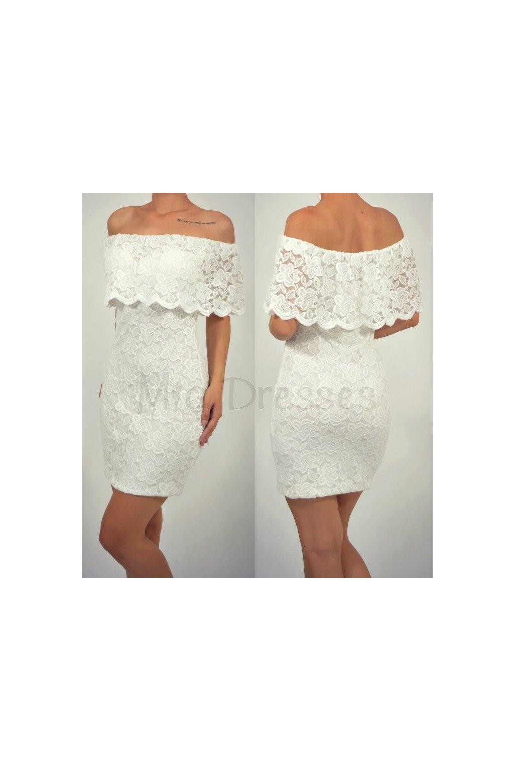 Biele čipkované šaty s volánom - Mia Dresses 41ee6eab25b